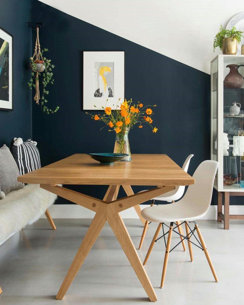 association bleu bois beige salle à manger