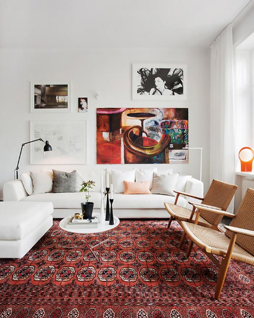 deco salon couleur bordeaux tapis persan