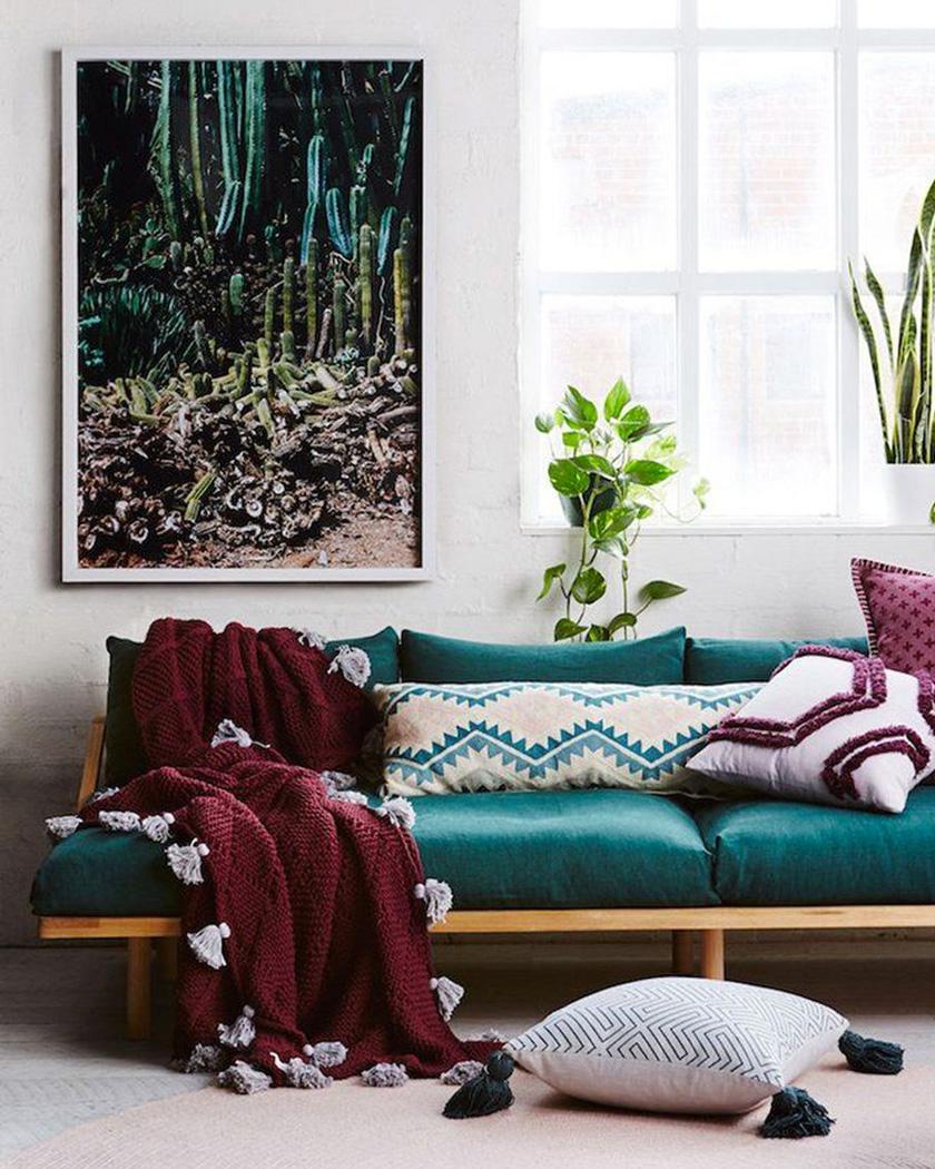 deco salon couleur bordeaux plaid tricot