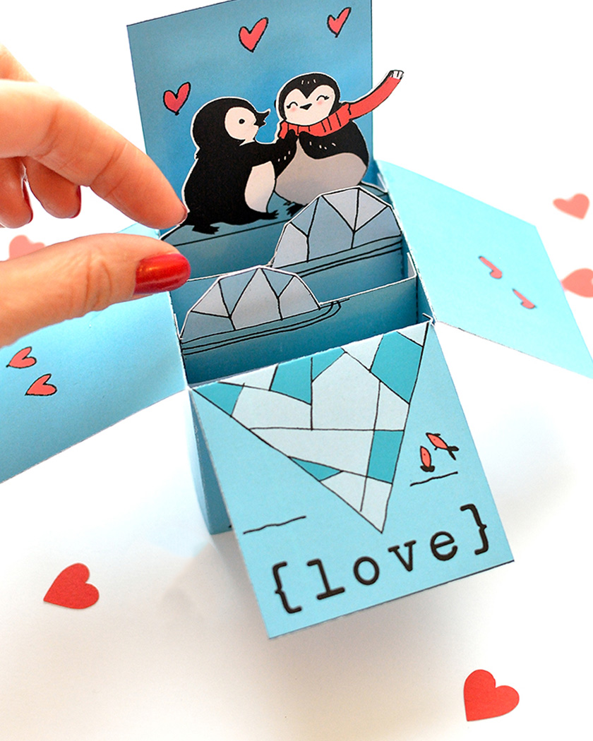 diy a imprimer saint valentin carte pop up