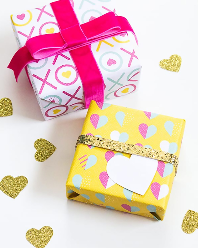 diy a imprimer saint valentin papier cadeau coloré