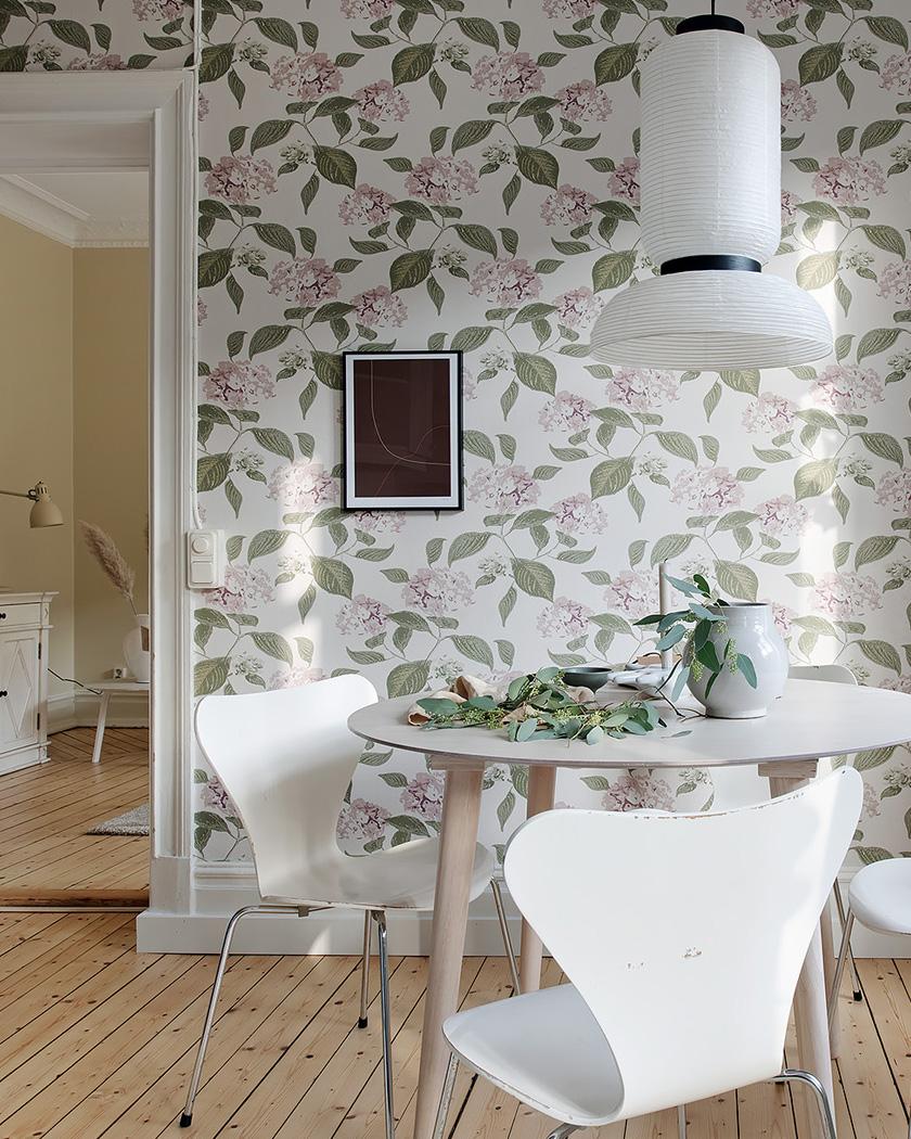 cuisine scandinave papier peint floral