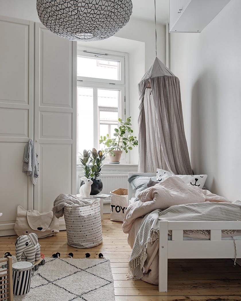 chambre enfant scandinave murs bois