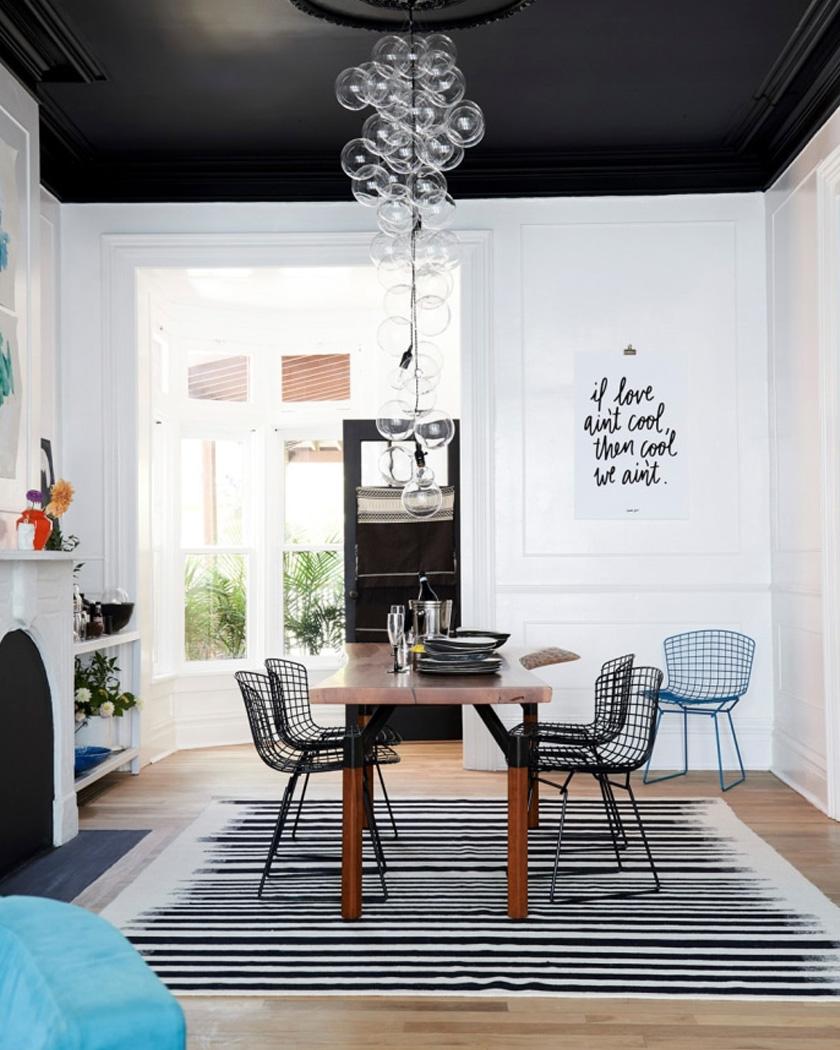 peindre plafond couleur noir sejour