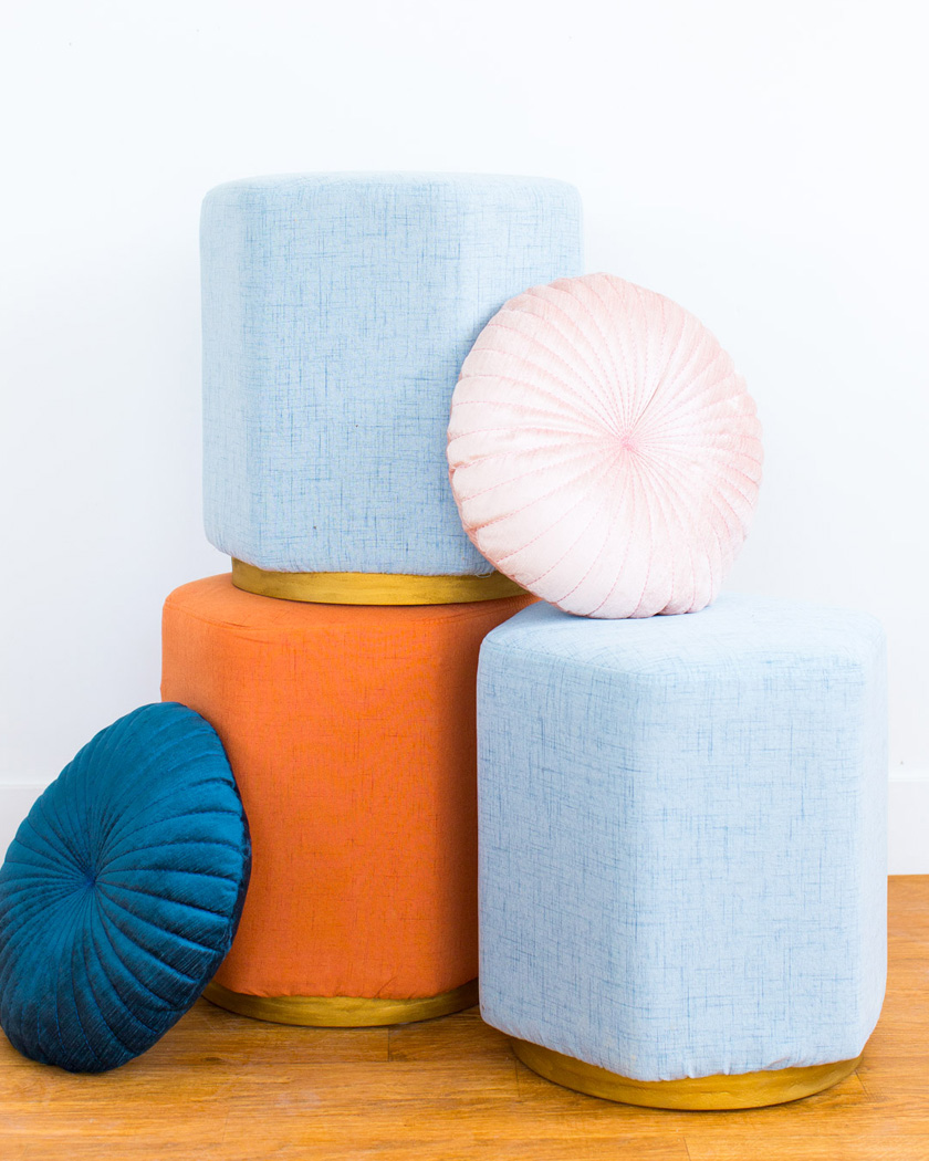 pouf diy velours base laiton