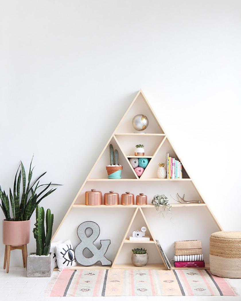 bibliothèque diy triangle