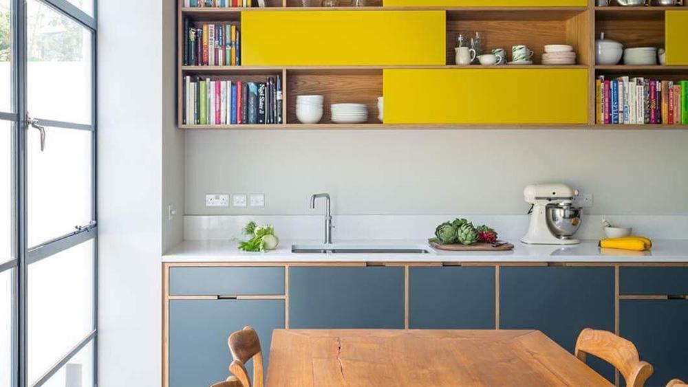 couleur jaune moutarde deco meuble cuisine gris anthracite