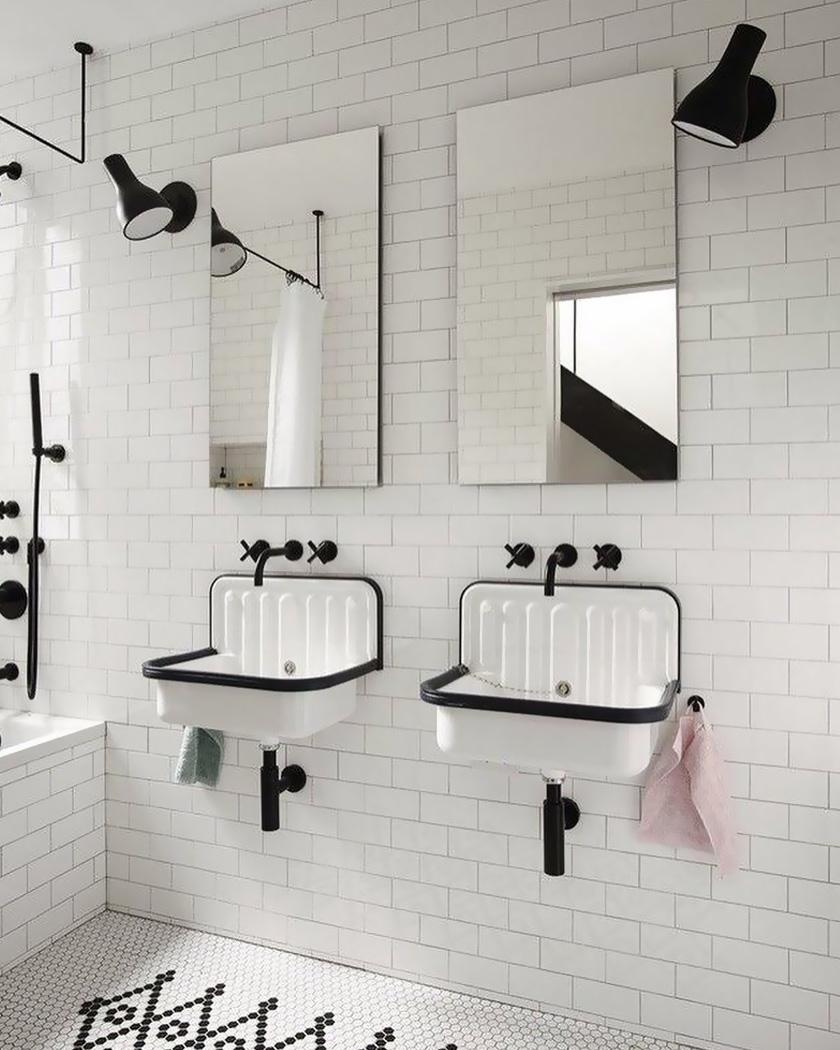 salle de bain deco carrelage métro blanc vintage moderne