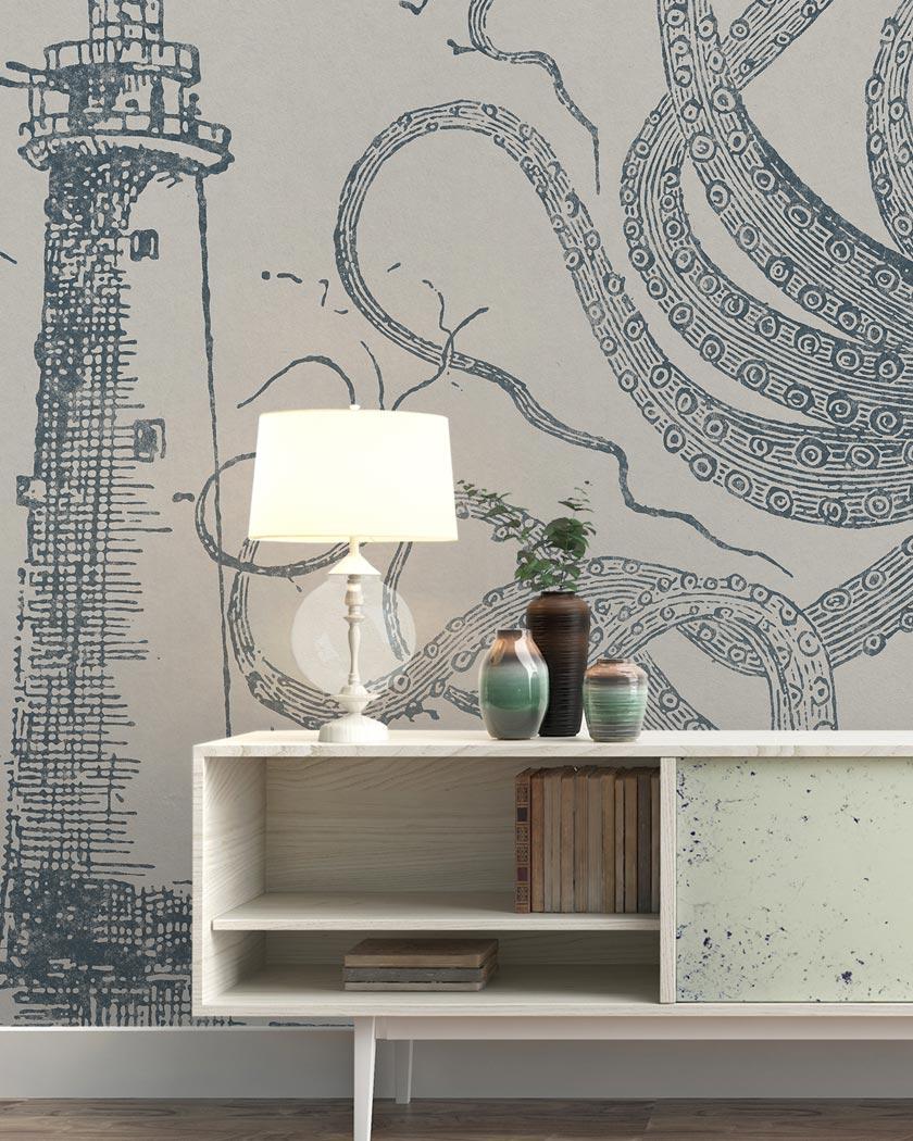 deco murale yeda papier peint pieuvre géante
