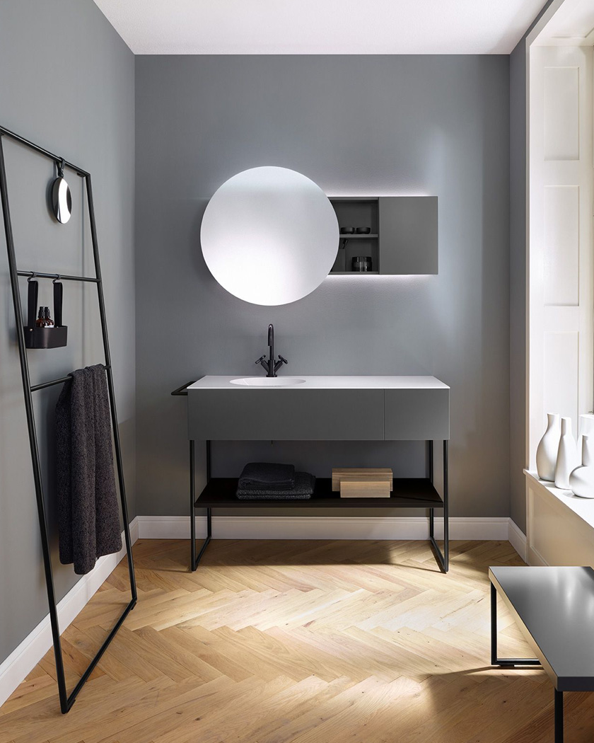 deco salle de bain moderne gris peinture