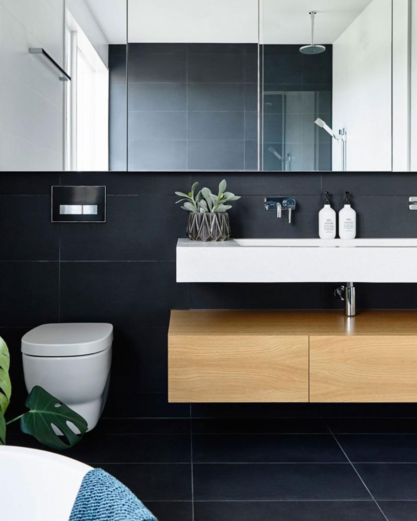 deco salle de bain moderne noir bois