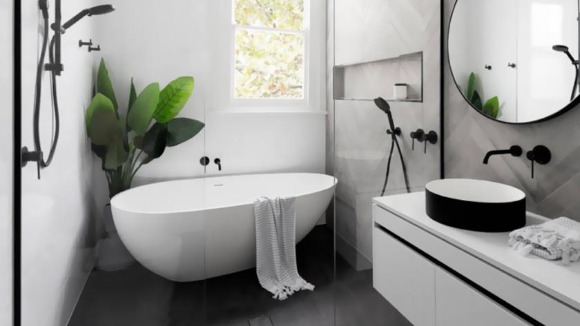 Deco Salle De Bain Moderne Baignoire Blanc Noir Tropical