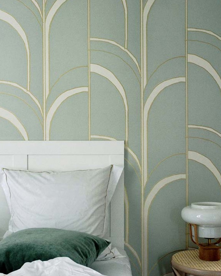 papier peint chambre art deco vert or