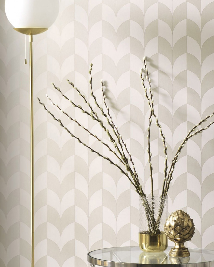 papier peint chambre retro beige gris