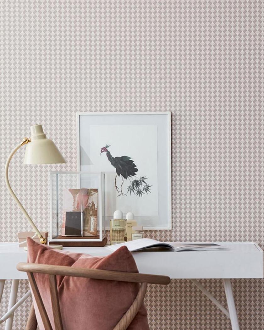 papier peint chambre retro pied de poule rose