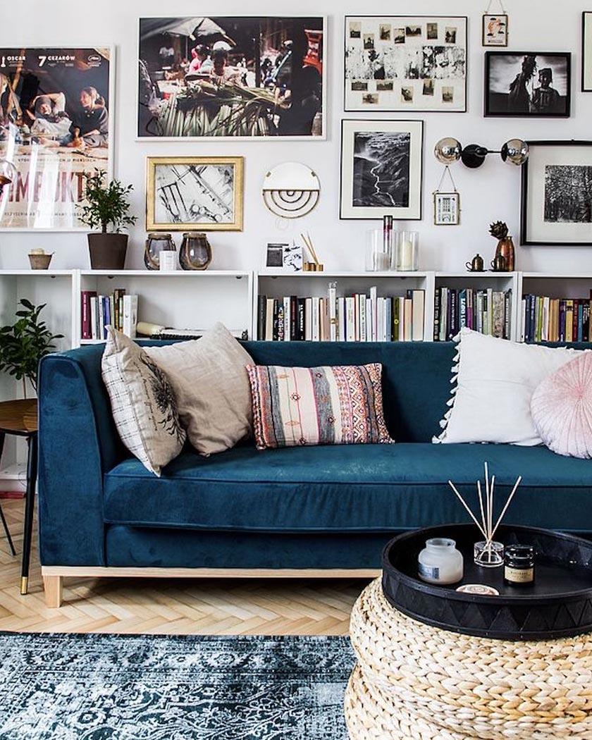 tapis persan deco bleu canapé