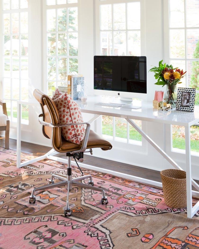 tapis persan deco bureau moderne rose