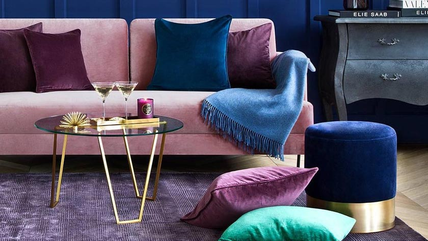 tapis persan deco salon moderne violet