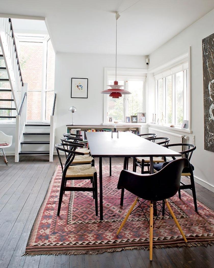 tapis persan deco salle à manger rouge