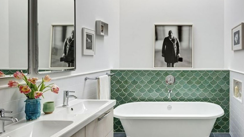 carrelage écaille vert salle de bain
