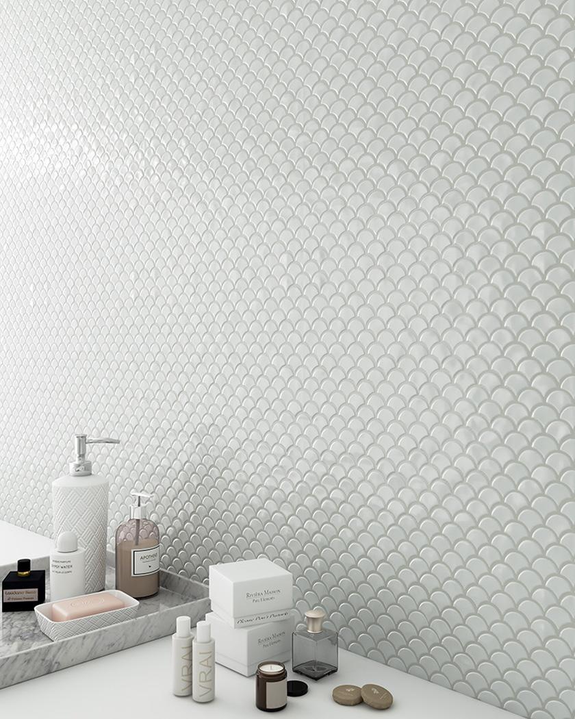 carrelage écaille blanc mini salle de bain