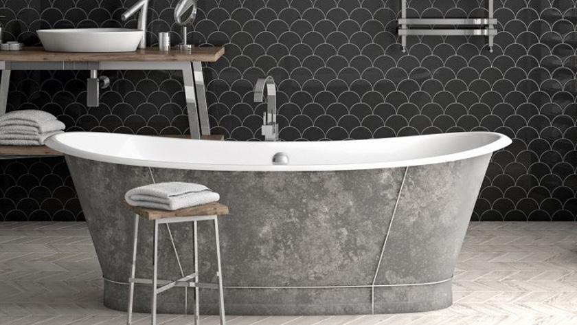 carrelage écaille noir salle de bain
