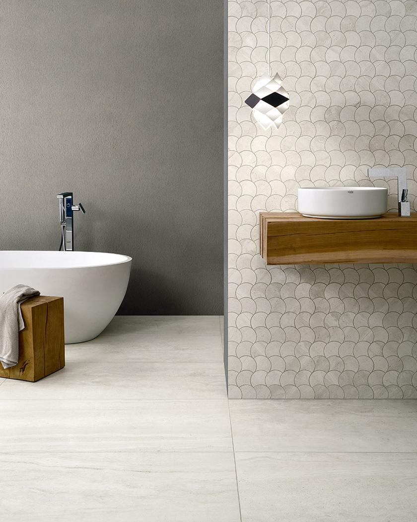 carrelage écaille blanc salle de bain pose originale