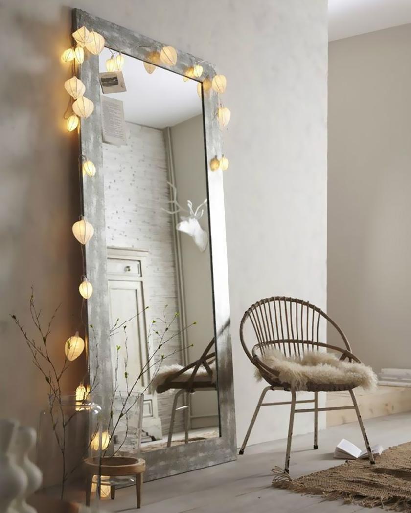 deco chambre cosy guirlande miroir