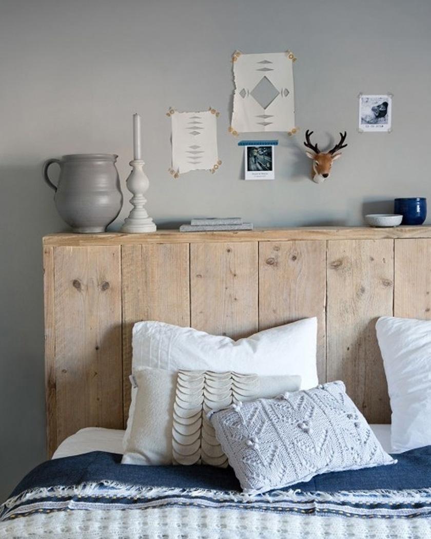 deco chambre cosy tête de lit bois brut