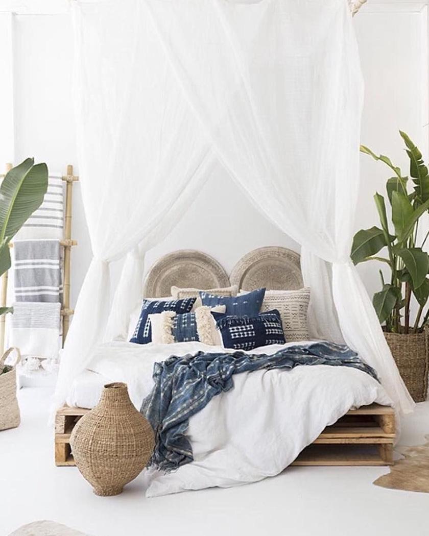 deco chambre cosy ciel lit textile bleu