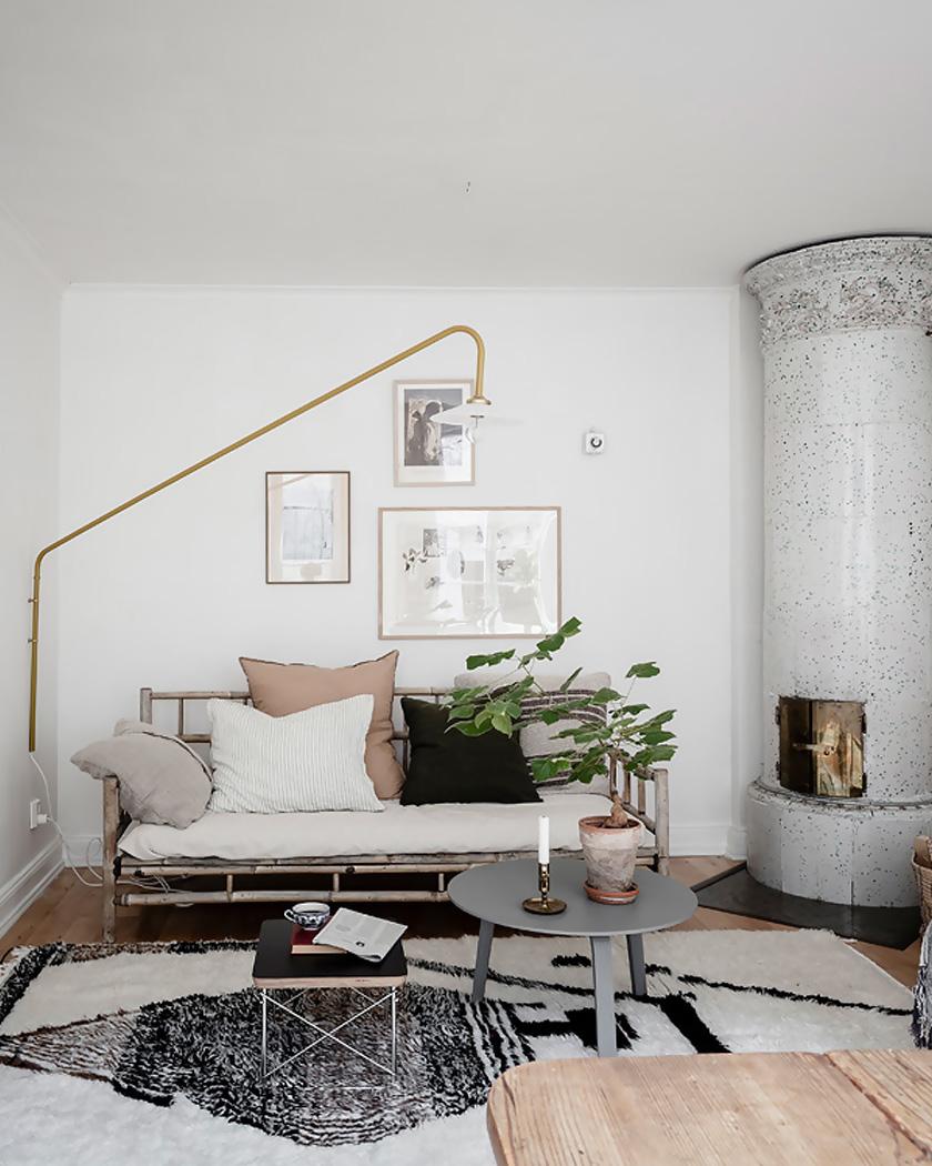 deco rustique moderne salon cheminée céramique