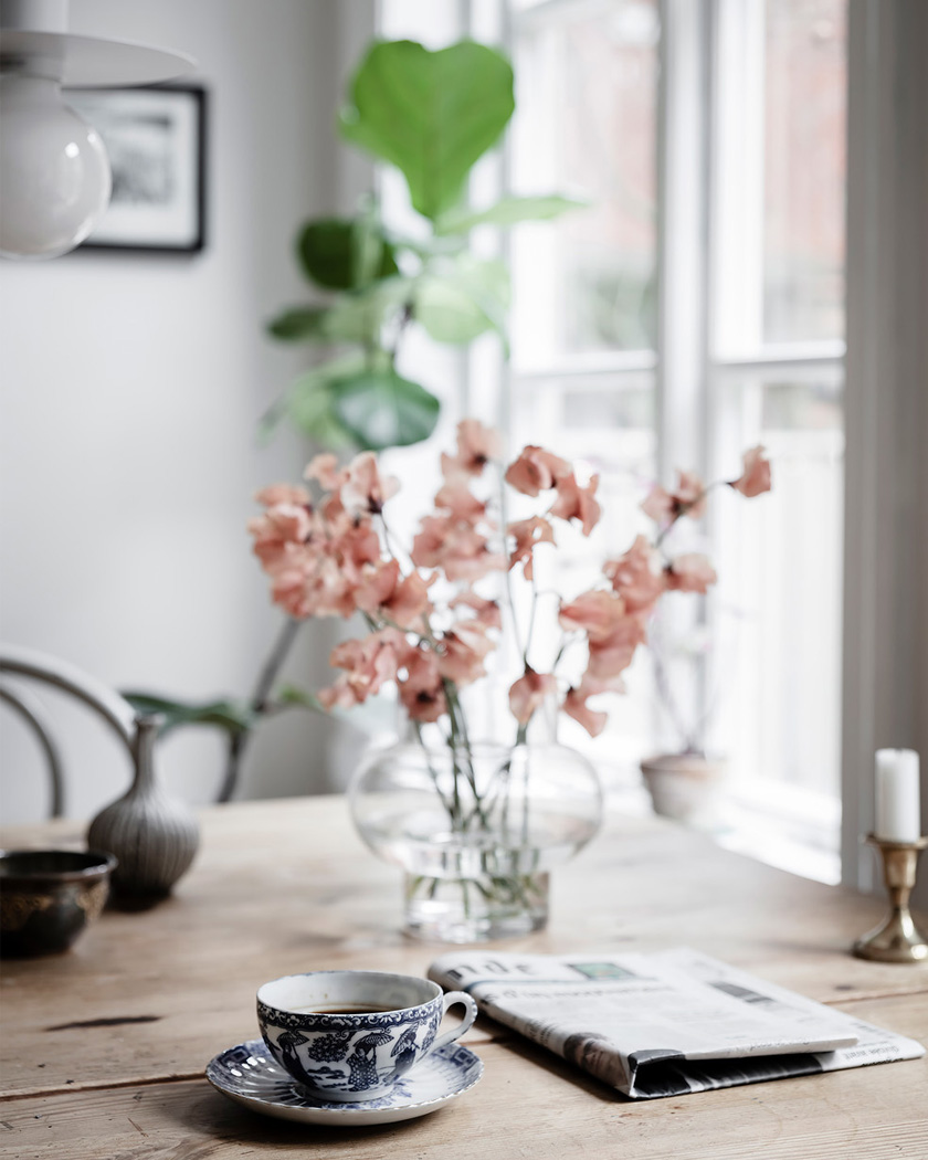 deco rustique moderne fleurs roses