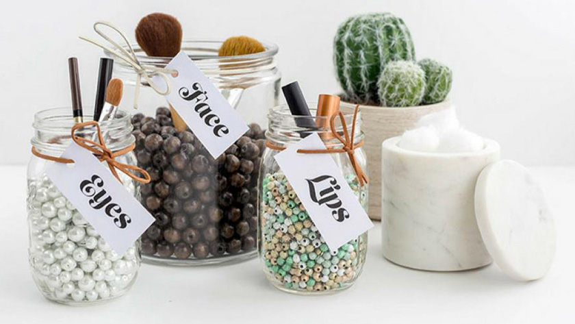 rangement maquillage diy bocal perles