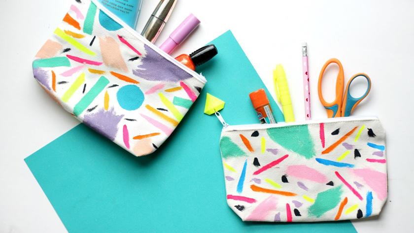 rangement maquillage diy pochette colorée