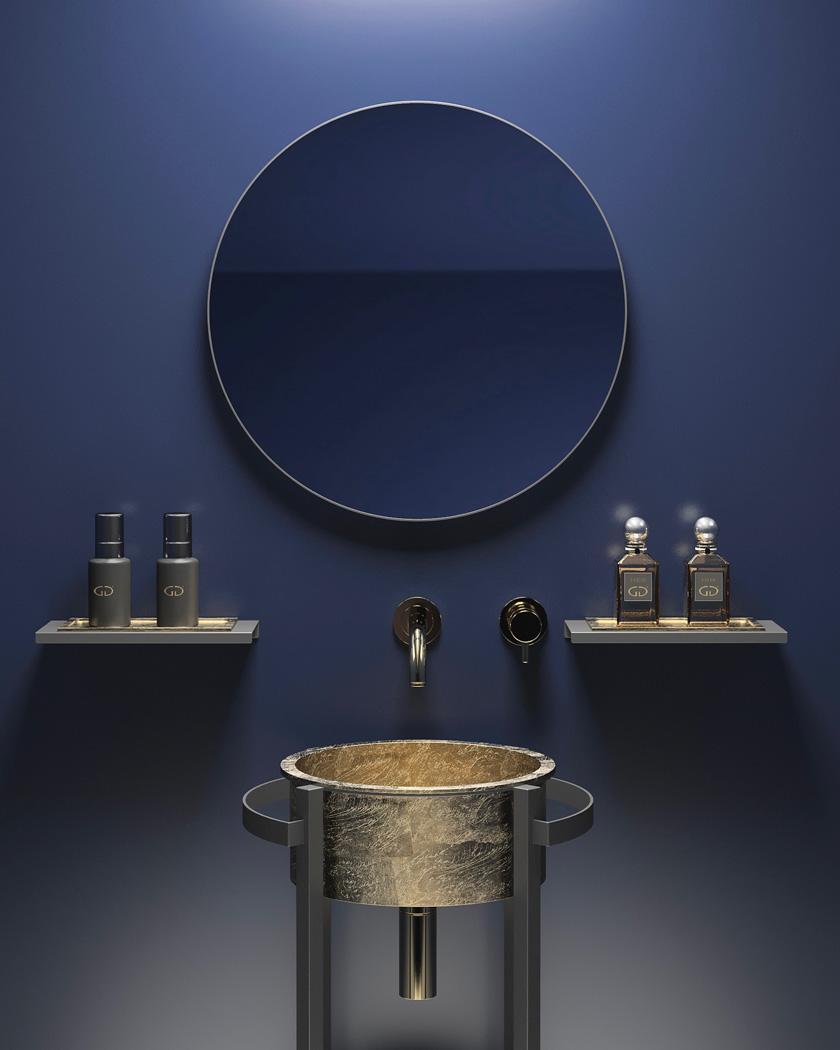 salle de bain mooze uniko lavabo doré rond