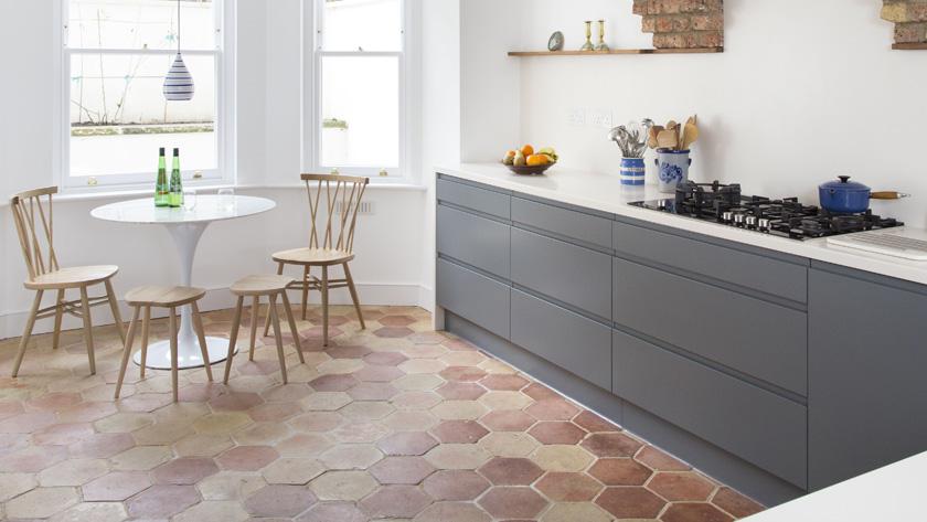 deco sol terre cuite cuisine moderne grise