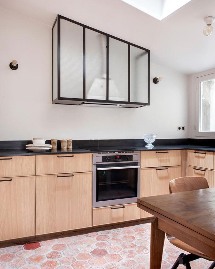 deco sol terre cuite cuisine moderne bois