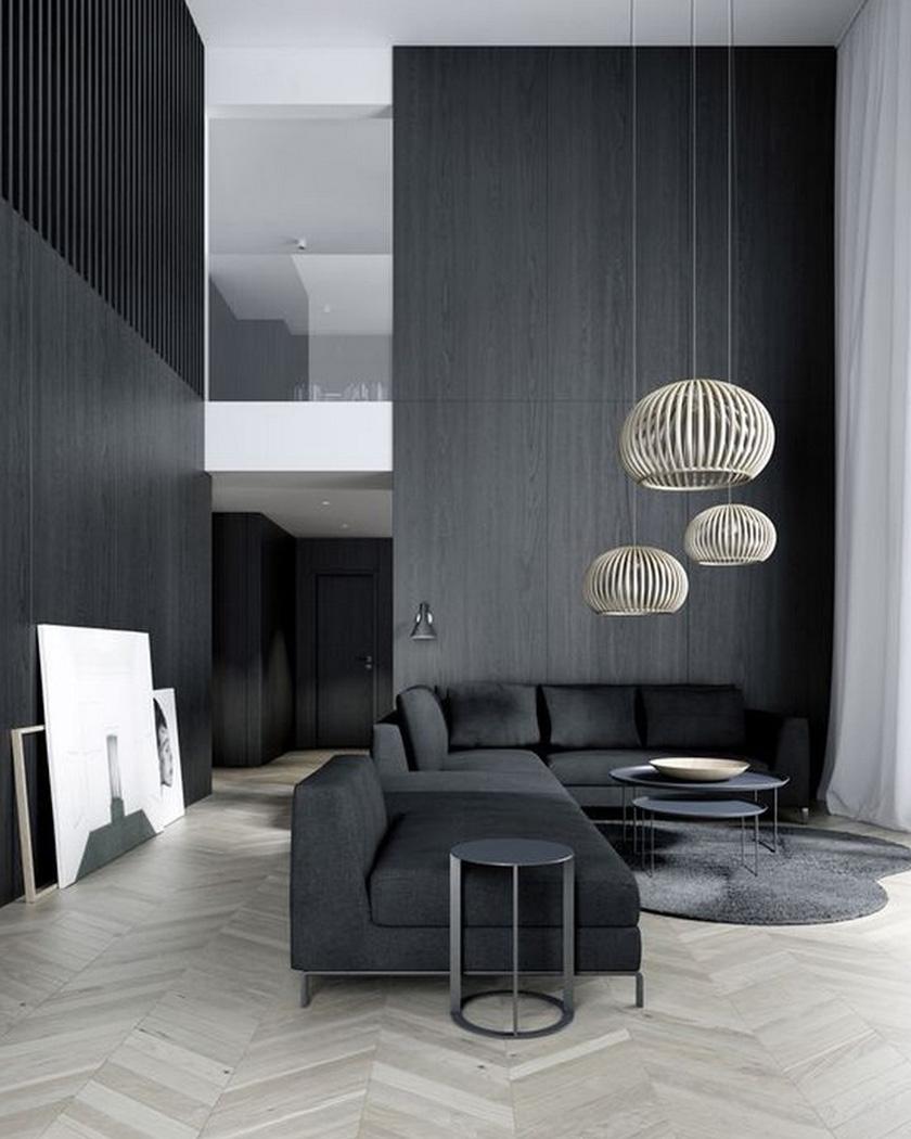 deco noir salon contemporain