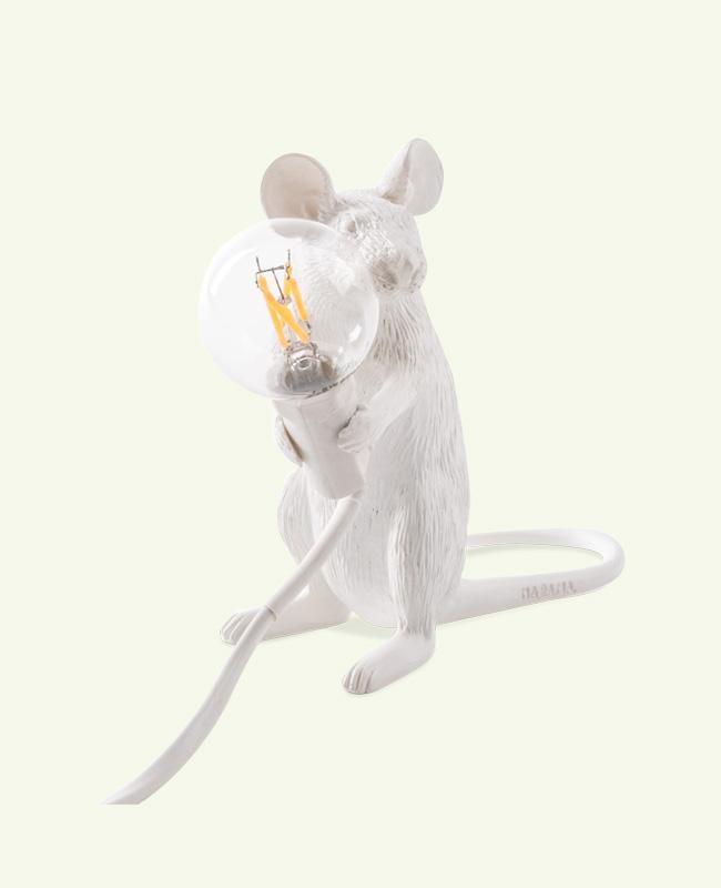lampe souris seletti blanche