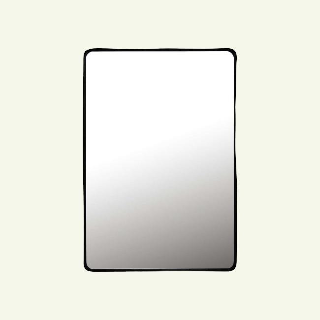 miroir noir en métal rectangulaire