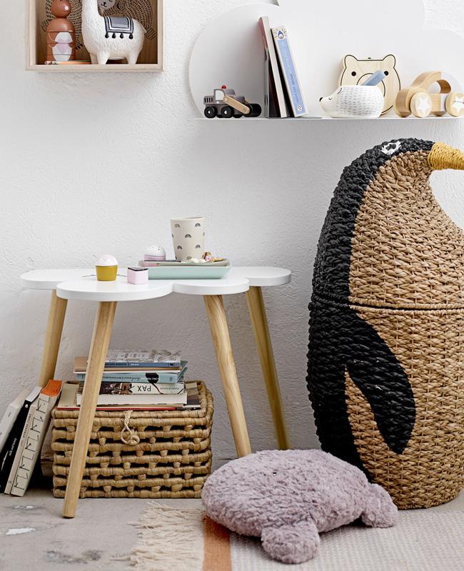 panier linge enfant pingouin