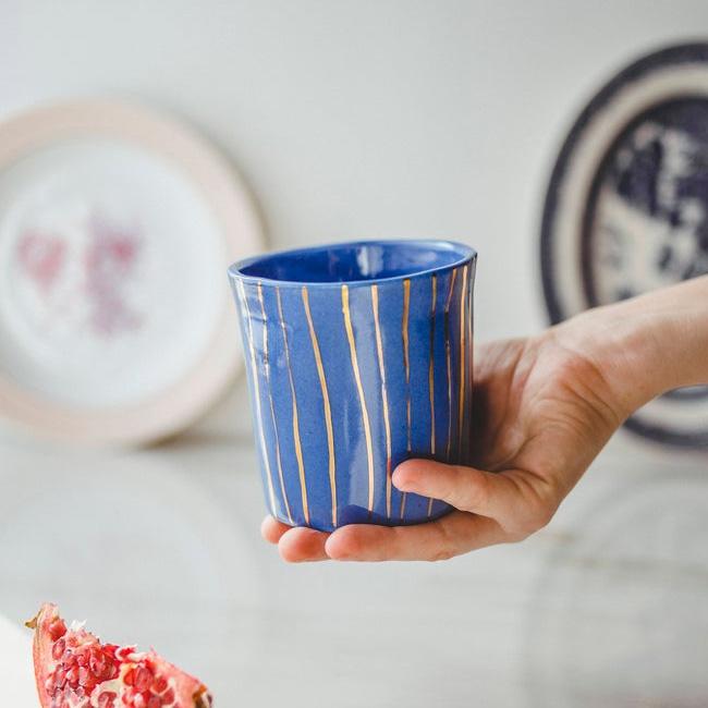 céramique etsy sind studio tasse bleu doré