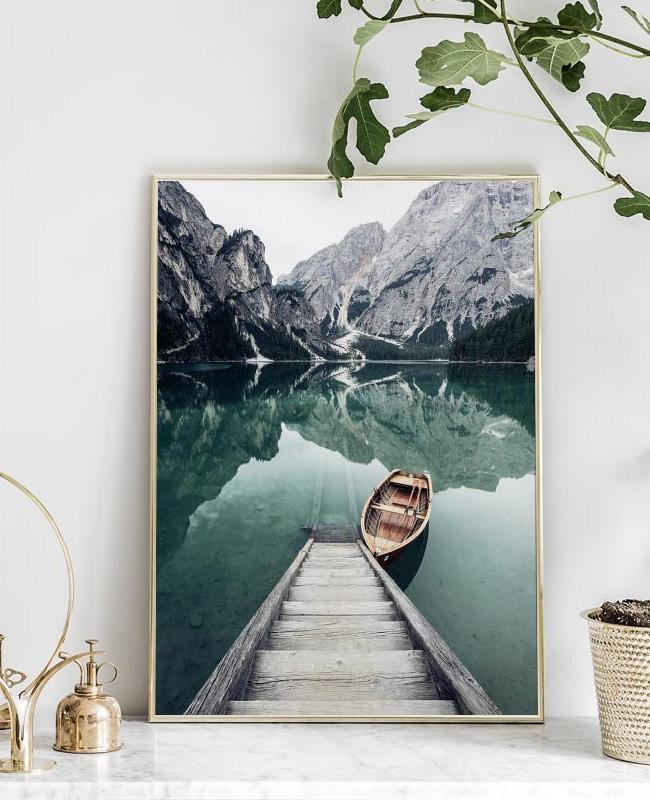 deco cadeau photo affiche bateau lac