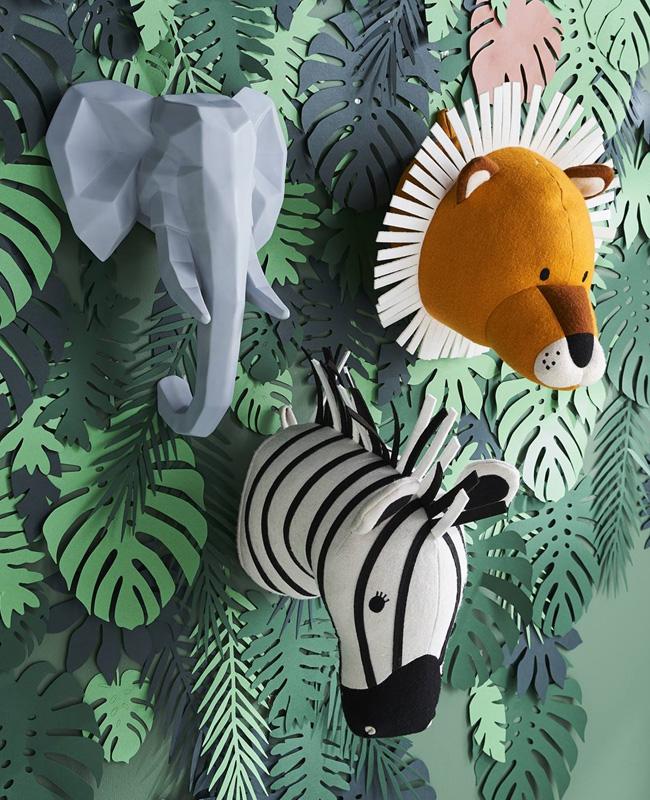 deco enfant jungle trophée éléphant