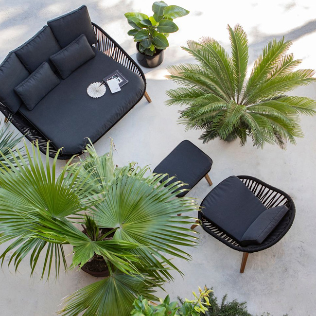 fauteuil jardin deco noir bas