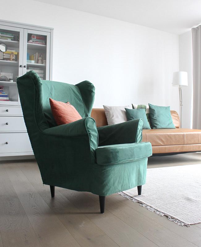 housse fauteuil ikea confort works velours vert