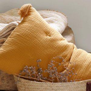 coussin jaune moutarde salon