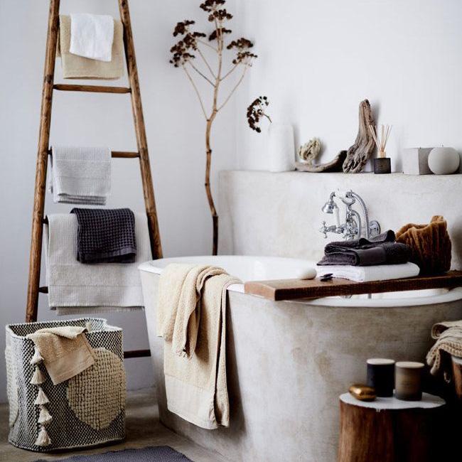 deco salle de bain boheme béton bois
