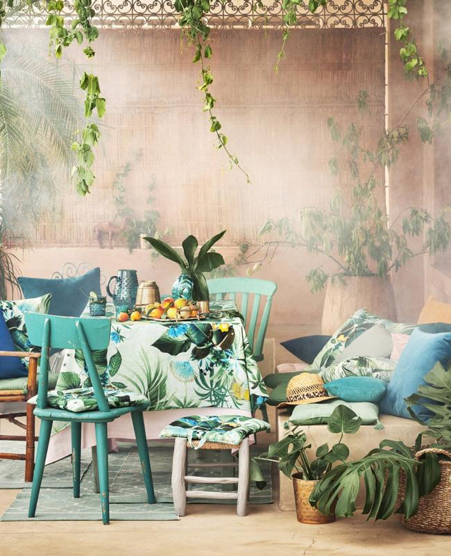 deco tropicale séjour salle à manger vert