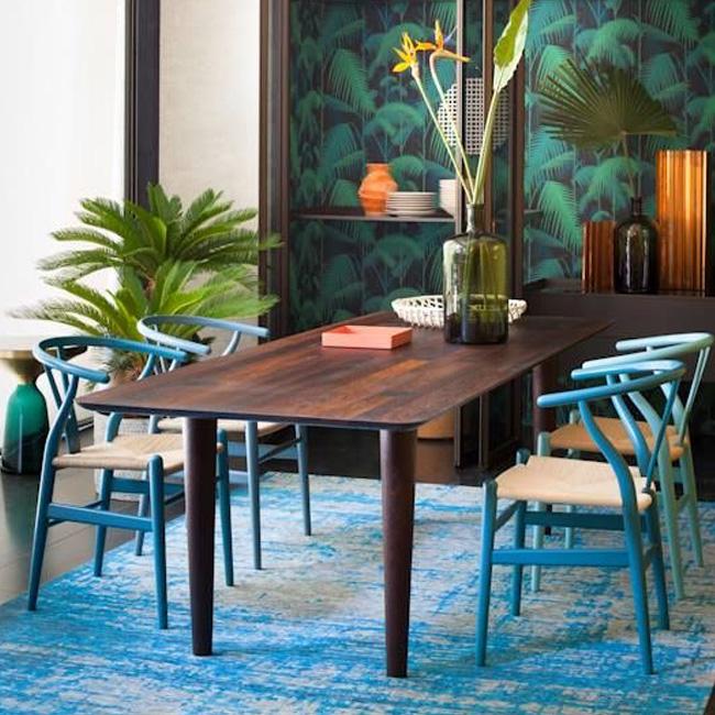 deco tropicale séjour salle à manger bleu vert